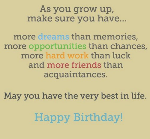 Growing Up Birthday Quotes Wishesgreeting